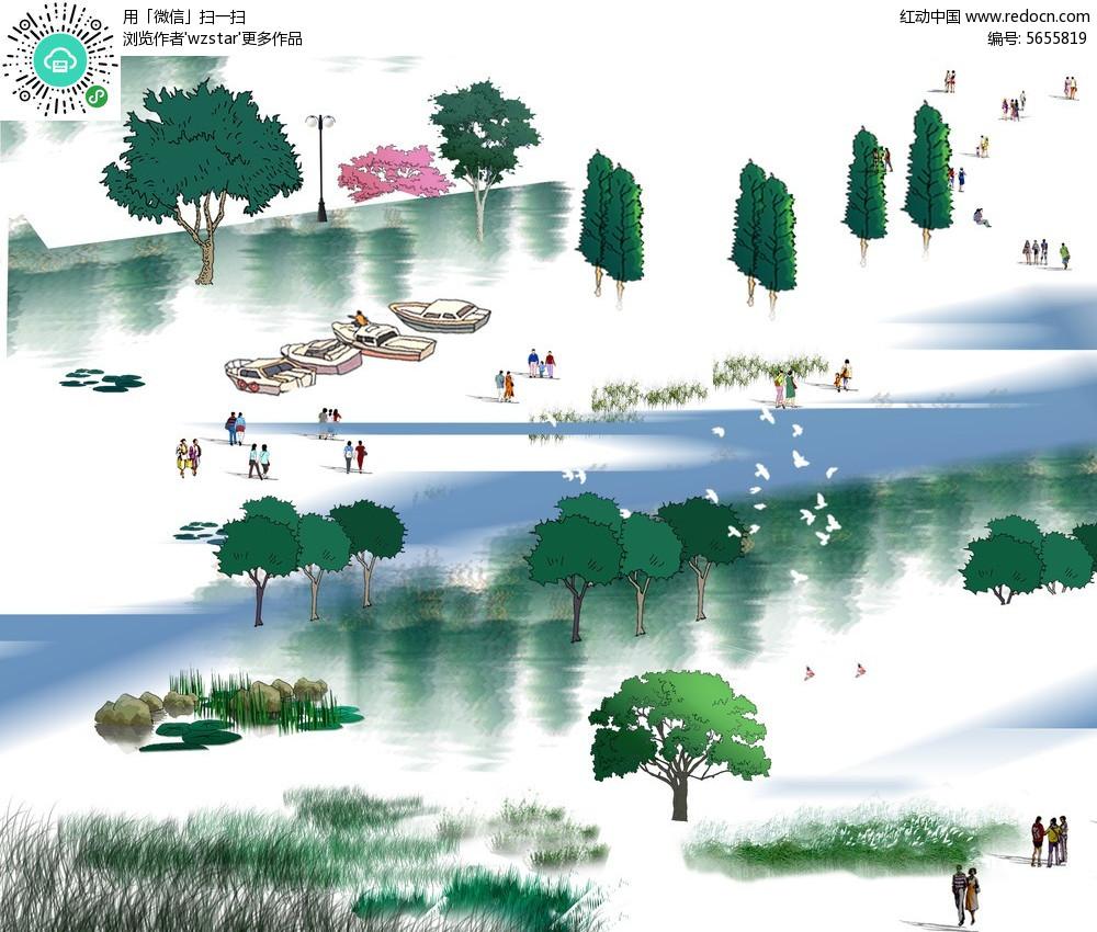 植物景观 园林手绘