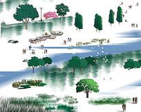 手绘园林海面效果图psd素材