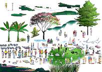 手绘园林植物人物立面效果图psd分层素材
