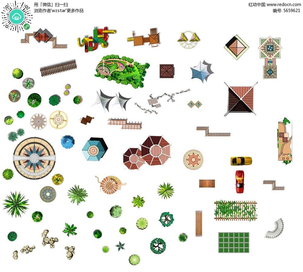 手绘园林植物亭子立面效果图psd分层素材