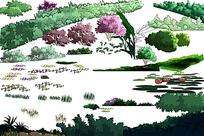 现代园林景观规划psd分层效果图素材