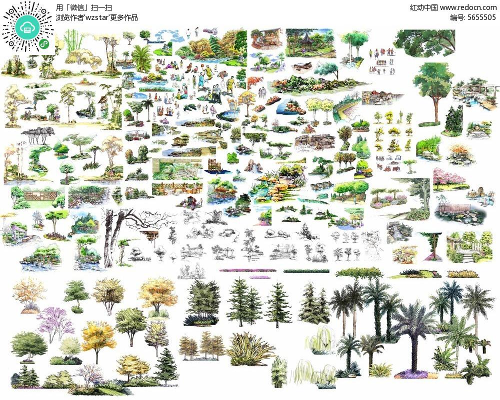 园林景观手绘立面树图片psd免费下载_植物素材
