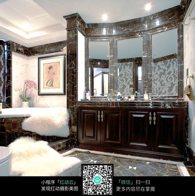 中式风格卫浴间洗手台装修