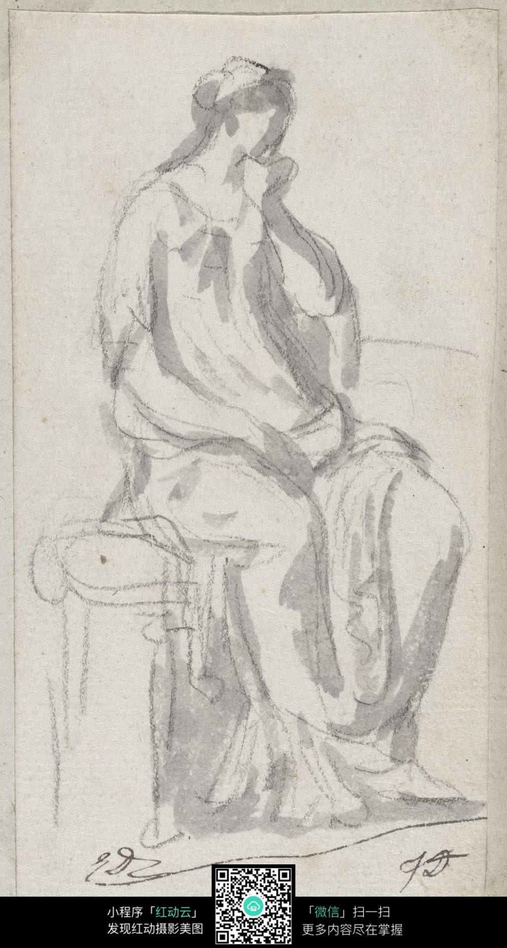 坐着的人 人物画 简笔画
