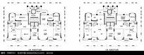 简约平面线条单楼层和双楼层户型图