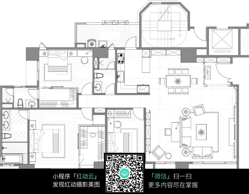 三房一厅平楼设计图分享_设计图展示抽奖海报设计图片