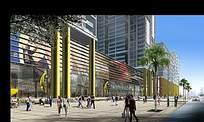 商业区广场建筑效果图