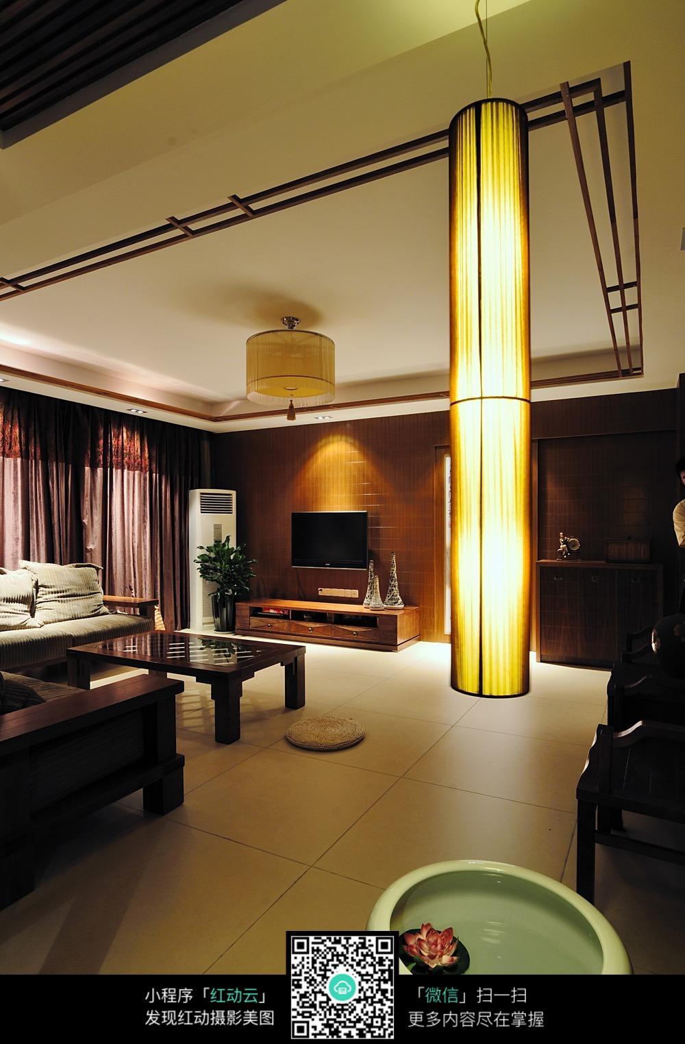 中式房屋客厅吊顶设计实景图