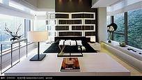 创意别墅装修的大床和室外景观