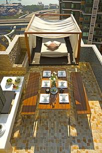 挂着帘子的床和和摆放餐具的桌子俯拍图片