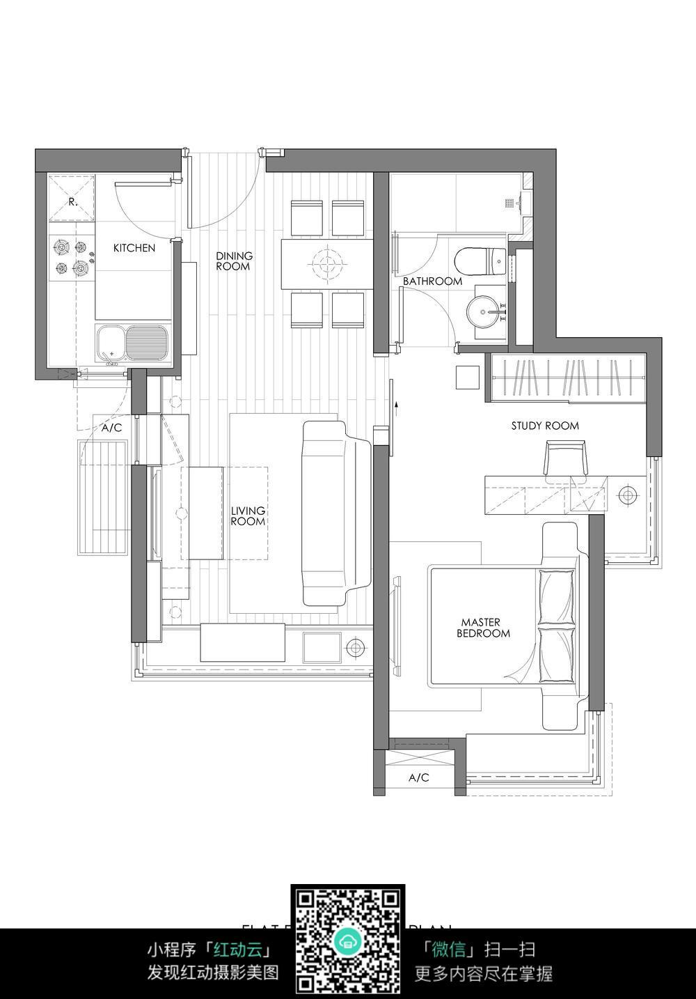 小户型卧室装修CAD平面图图片免费下载 编号5701907 红动网