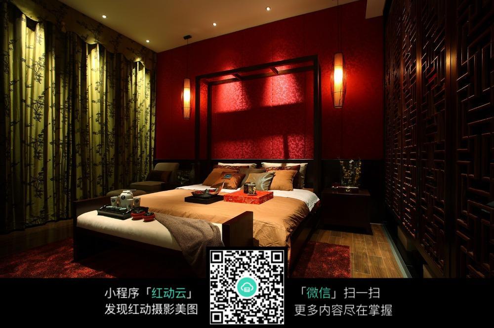 红色古风卧室装修效果图
