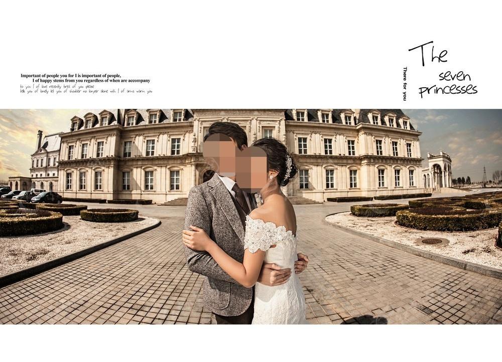欧式建筑前相拥的情侣婚纱摄影图片