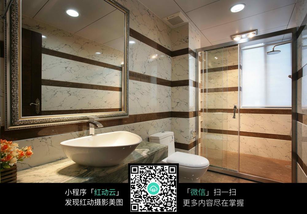 浴室洗手池大理石洗手台图片