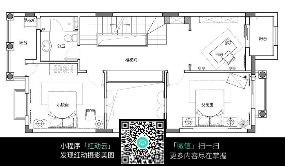 两房两阳台的平面布置图