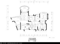 三房一厅豪华公寓平面布置图
