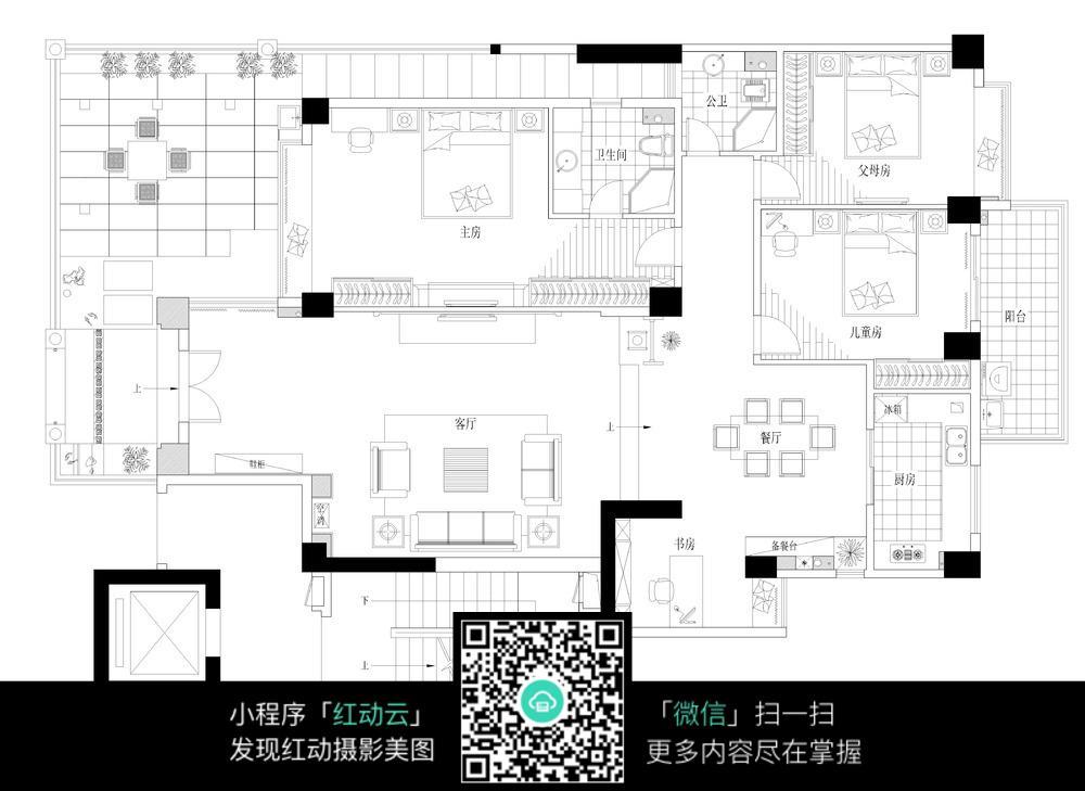 室内及阳台装修设计平面图