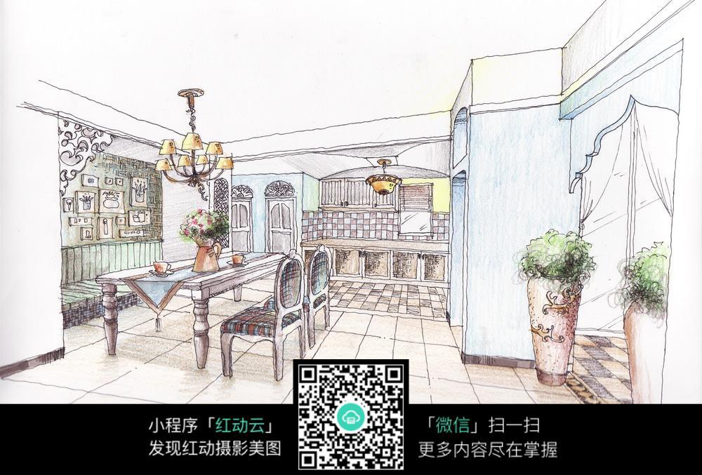 室内装修手绘效果图