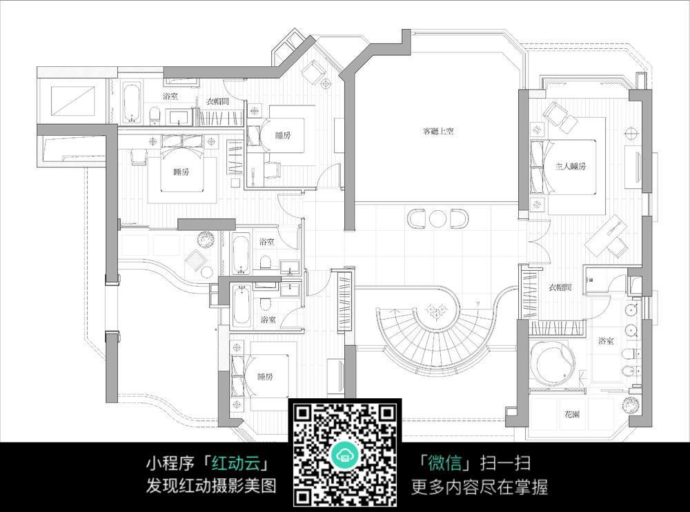 四房一厅平面布置图