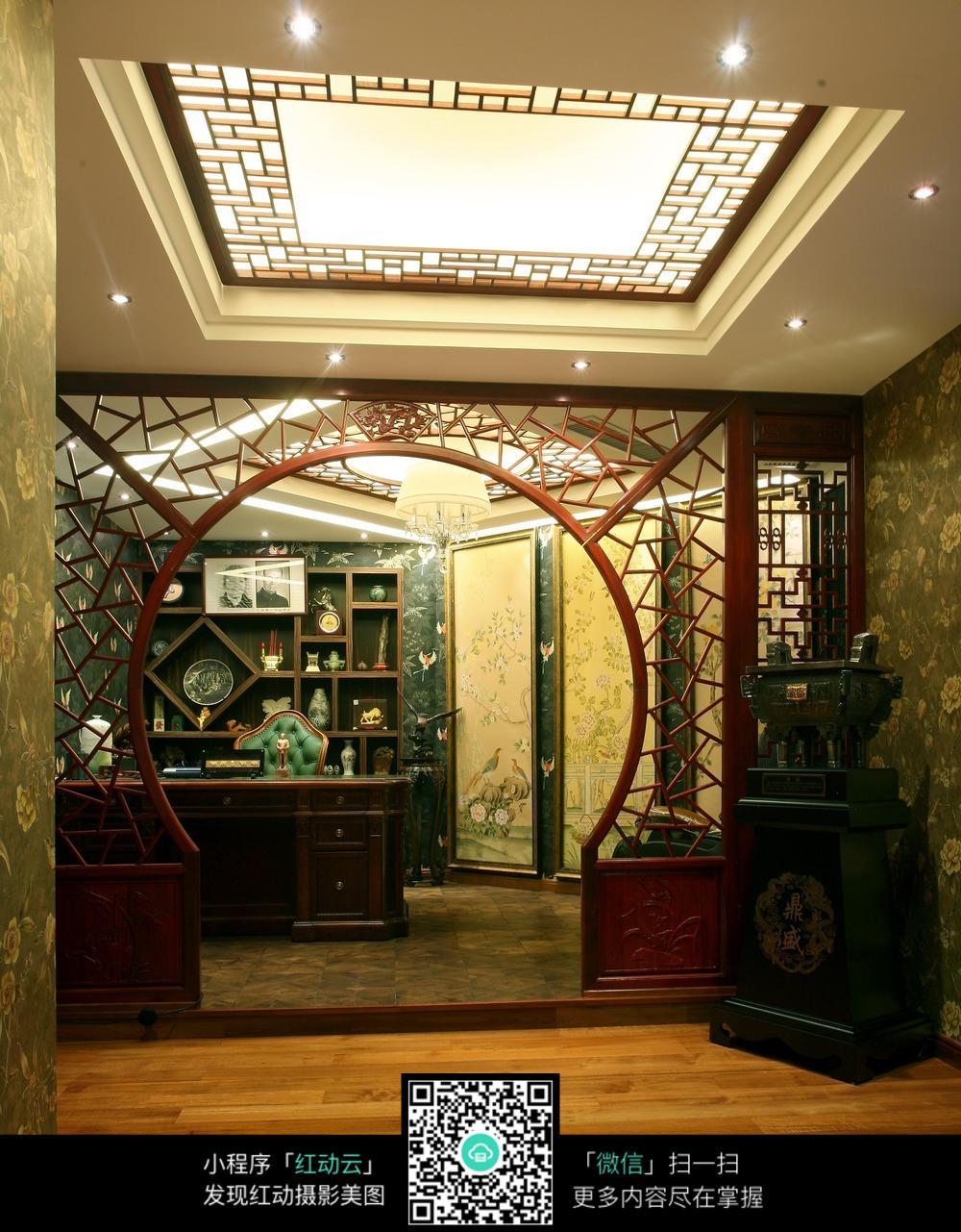 中式圆形木质拱门设计素材图片