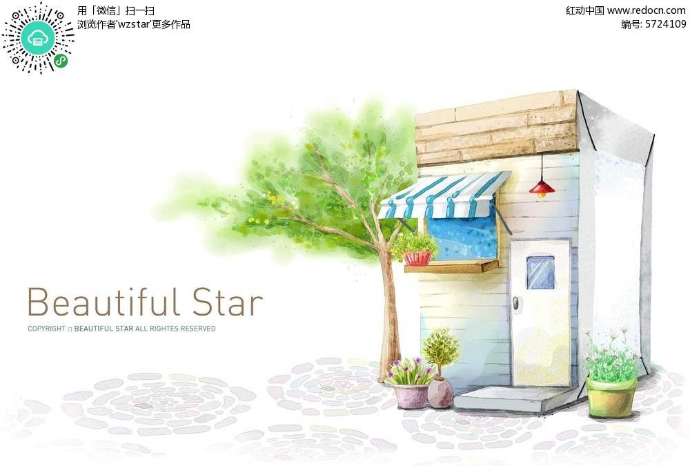 手绘彩色小房子背景素材
