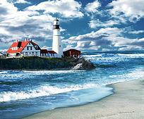 大海边小岛上的灯塔和白色红顶建筑