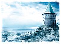 海报山坡上的尖塔房