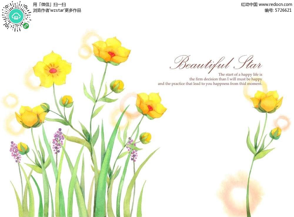 黄色花朵植物手绘psd