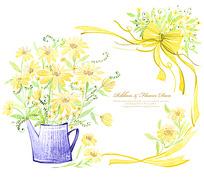 黄色蝴蝶结花朵背景图片