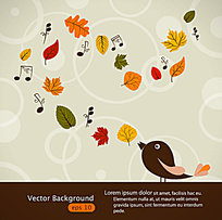 卡通可爱的鸟树叶音符插画素材