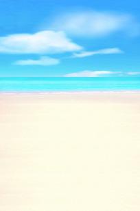 蓝天白云下的蓝色大海和白色沙滩