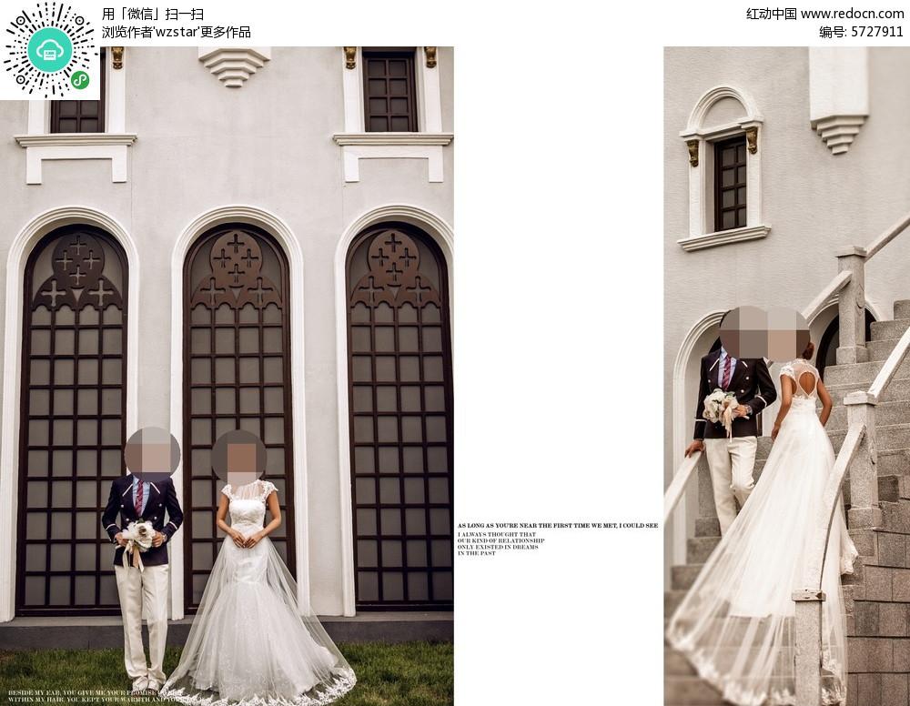 欧式建筑旁情侣婚纱摄影图片