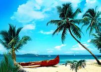 沙滩上的棕榈树和红色木船