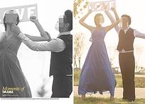 手举love镂空牌子的情侣彩色和黑白婚纱照psd素材
