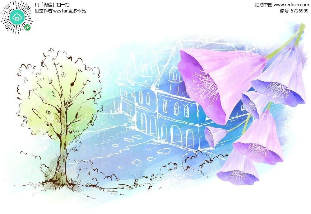 紫色梦幻浪漫手绘花朵背景psd分层