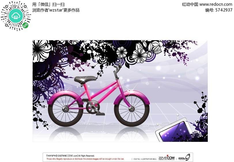 手绘花朵自行车背景矢量素材