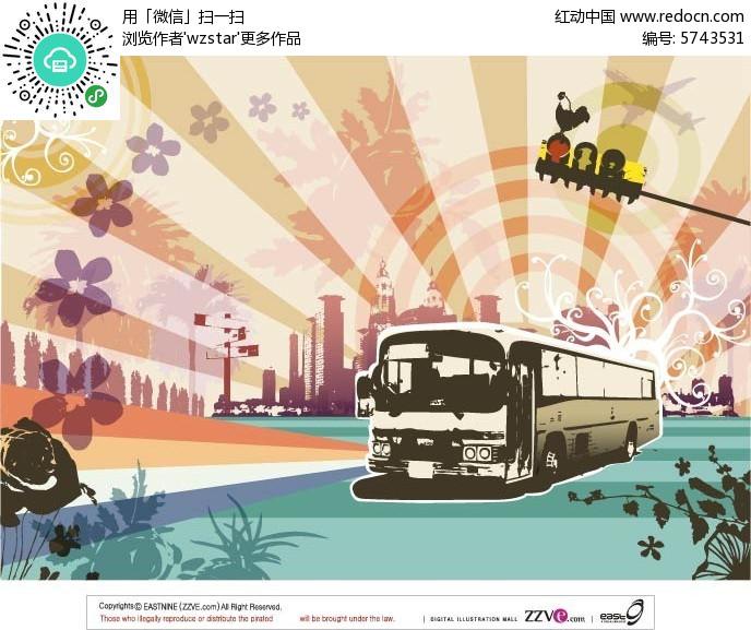 公交车手绘素材图片