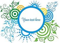 蓝色圆形纹信纸标签素材