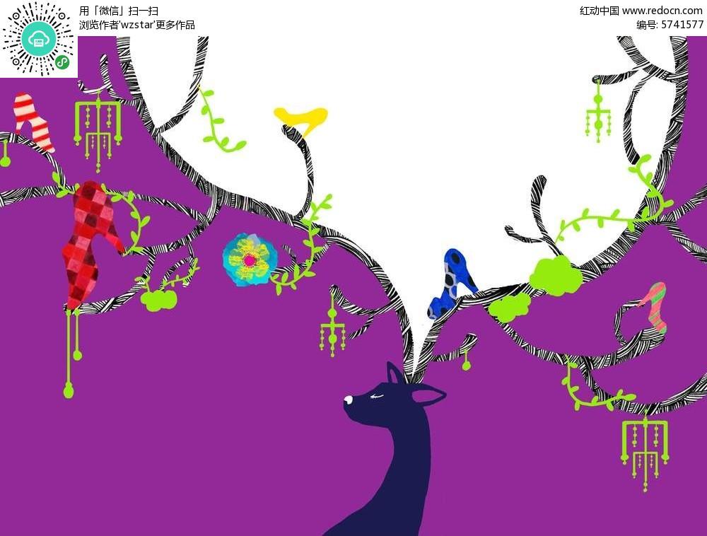 麋鹿创意剪影插画