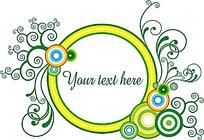 绿色卷曲纹信纸标签素材