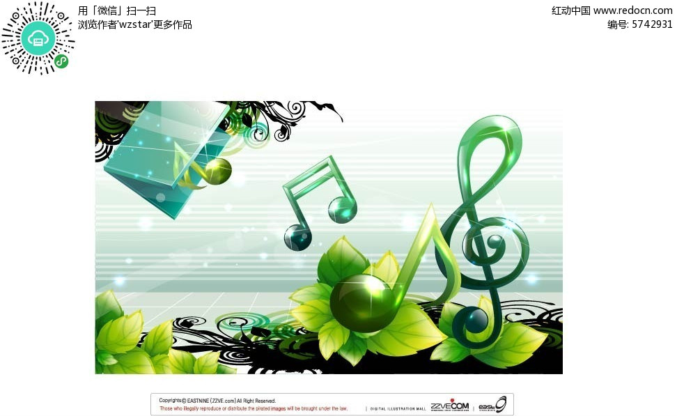 手绘音符绿叶花朵背景矢量素材