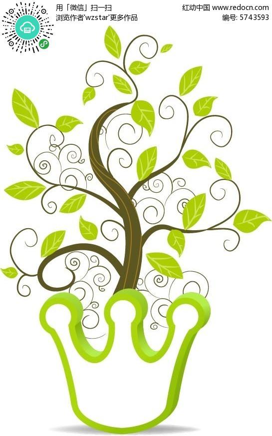 免费素材 矢量素材 花纹边框 其他 王冠大树创意海报