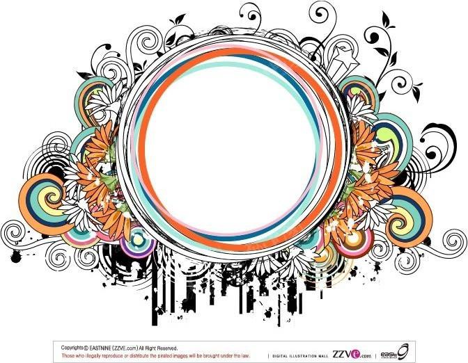 圆形彩色线条边框设计