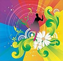 彩色时尚藤蔓花草女人剪影图案