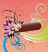 插画花朵和枝条装饰的圆角矩形框