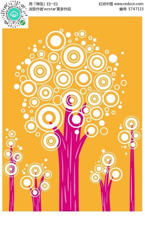 抽象彩绘树木背景素材EPS免费下载