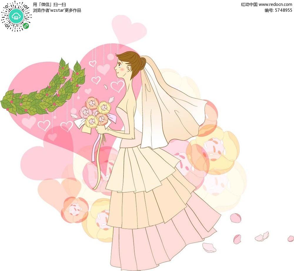 穿着婚纱的女孩插画