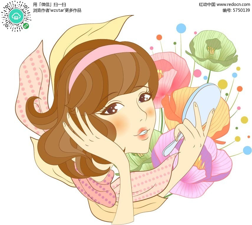 短发少女手绘插画设计