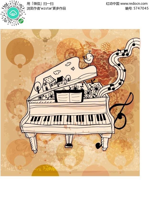 钢琴创意手绘