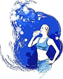 喝矿泉水的运动少女卡通插画素材